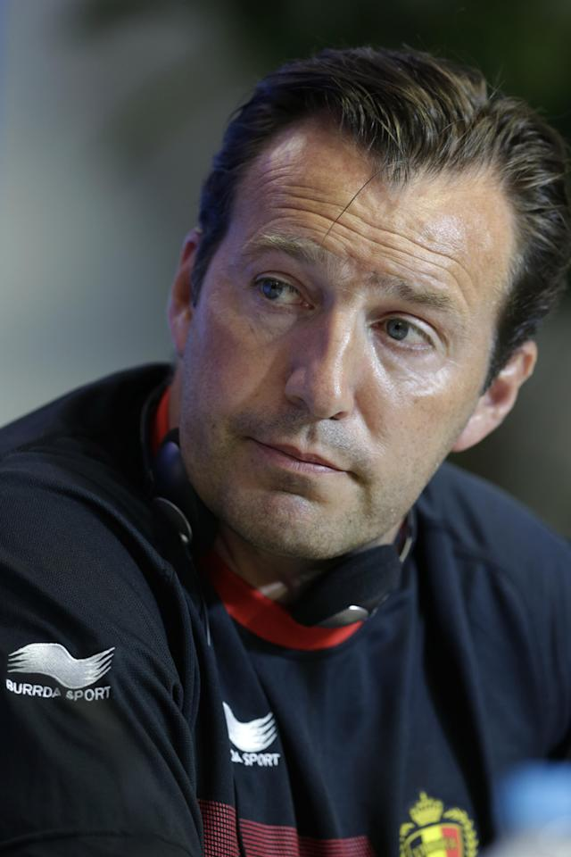 Belgium's head coach Marc Wilmots attends a press conference the day before the World Cup round of 16 soccer match between Belgium and USA at Arena Fonte Nova in Salvador, Brazil, Monday, June 30, 2014. (AP Photo/Julio Cortez)