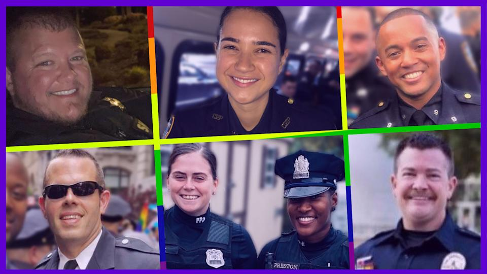 Out and proud LGBTQ cops include, clockwise from top left: Jaime Deer, Ana Arboleda, Jason Samuel, Greg Abbink, couple Taylor Mack and Nicole Wallace and Nicholas Tees. (Photos courtesy of subjects)