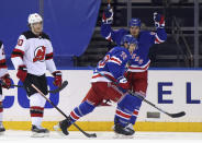 New York Rangers' Filip Chytil celebrates his third-period goal against the New Jersey Devils in an NHL hockey game Tuesday, Jan. 19, 2021, in New York. (Bruce Bennett/Pool Photo via AP)