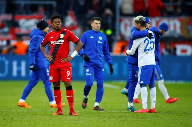 Soccer Football - Bundesliga - Bayer Leverkusen vs Schalke 04 - BayArena, Leverkusen, Germany - February 25, 2018 Bayer Leverkusen's Leon Bailey looks dejected after the match REUTERS/Thilo Schmuelgen DFL RULES TO LIMIT THE ONLINE USAGE DURING MATCH TIME TO 15 PICTURES PER GAME. IMAGE SEQUENCES TO SIMULATE VIDEO IS NOT ALLOWED AT ANY TIME. FOR FURTHER QUERIES PLEASE CONTACT DFL DIRECTLY AT + 49 69 650050
