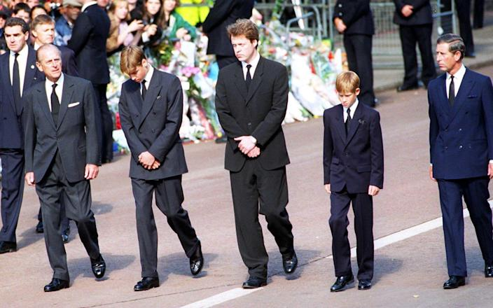 Princess Diana's Funeral on Sept 6 1997: Prince Philip, Prince William, Earl Spencer, Prince Harry and Prince Charles follow behind  - Trinity Mirror / Mirrorpix / Alamy Stock Photo