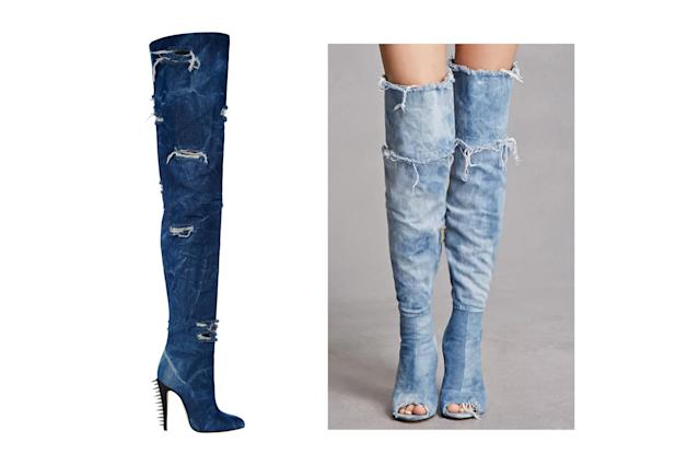 "<p>Brian Atwood for Victoria's Secret ""Punk Angel"" distressed denim boots, left, and Forever 21 stiletto denim boots, <a href=""https://www.forever21.com/us/shop/Catalog/Product/F21/branded-shop/2000268361/01?gclid=EAIaIQobChMIsNW6x67f1wIVj1cNCh3AdQwDEAkYAiABEgL-fPD_BwE"" rel=""nofollow noopener"" target=""_blank"" data-ylk=""slk:$31 Forever 21"" class=""link rapid-noclick-resp"">$31 Forever 21</a> (Photo: Victoria's Secret/Forever 21) </p>"