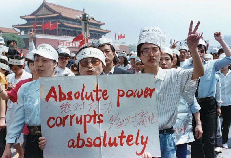 A group of journalists supports the pro-Democracy protest in Tiananmen Square