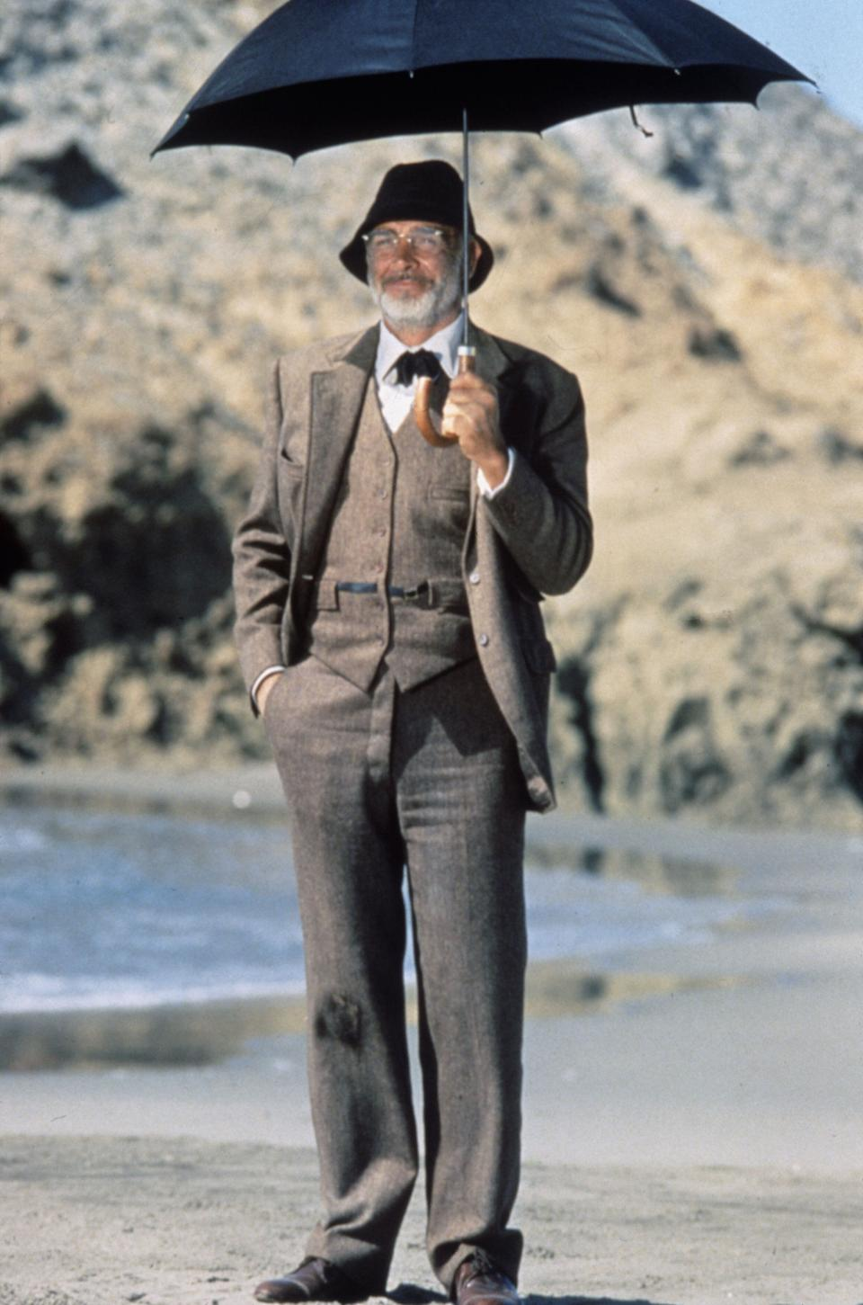 Scottish actor Sean Connery as Professor Henry Jones in a scene from the film 'Indiana Jones and the Last Crusade', 1989.  (Photo by Murray Close/Getty Images)