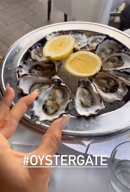 Ruby Tuesday Matthews posts Oyster photo caption 'oystergate' in response to criticism her oyster dinner delayed Jetsar flight