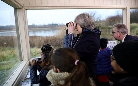 Theresa May at the Wetland centre, where she annoucned the 25-year plan