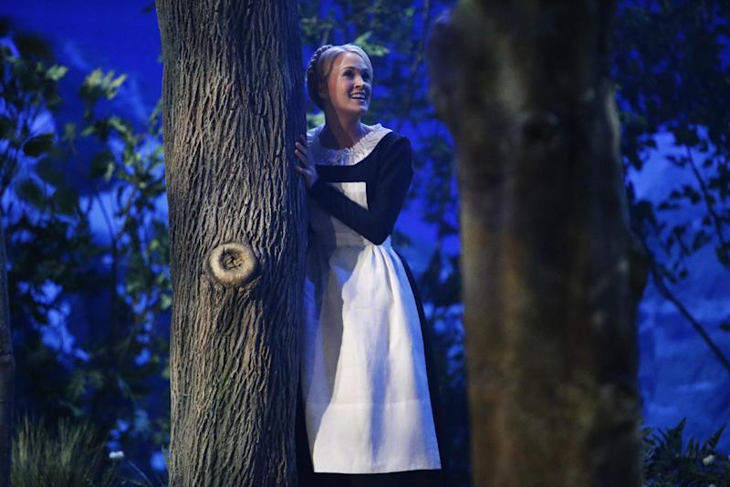 """This photo provided by NBC shows Carrie Underwood as Maria in """"The Sound of Music Live!"""" airing Thursday, December 5, 2013, on NBC (8-11 p.m. ET). (AP Photo/NBC, Will Hart)"""