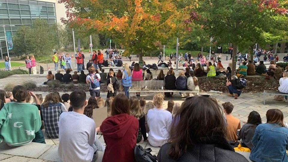 A peaceful sit-in protest, opposing ESFL, took place on 13 October (Georgia Knowles)