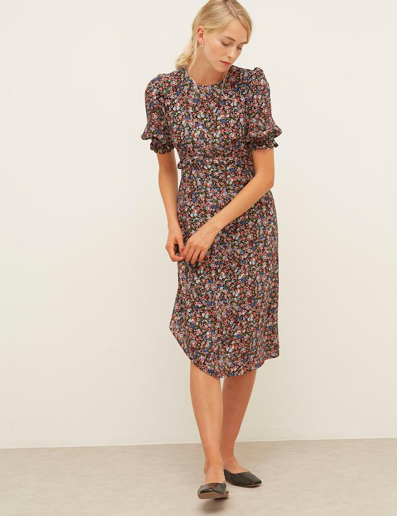 Floral Frill Detail Midi Waisted Dress (Nobody's child/ M&S)