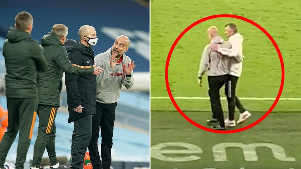 Seen here, Pep Guardiola and Ole Gunnar Solskjaer share a friendly post-match moment after a second half argument.