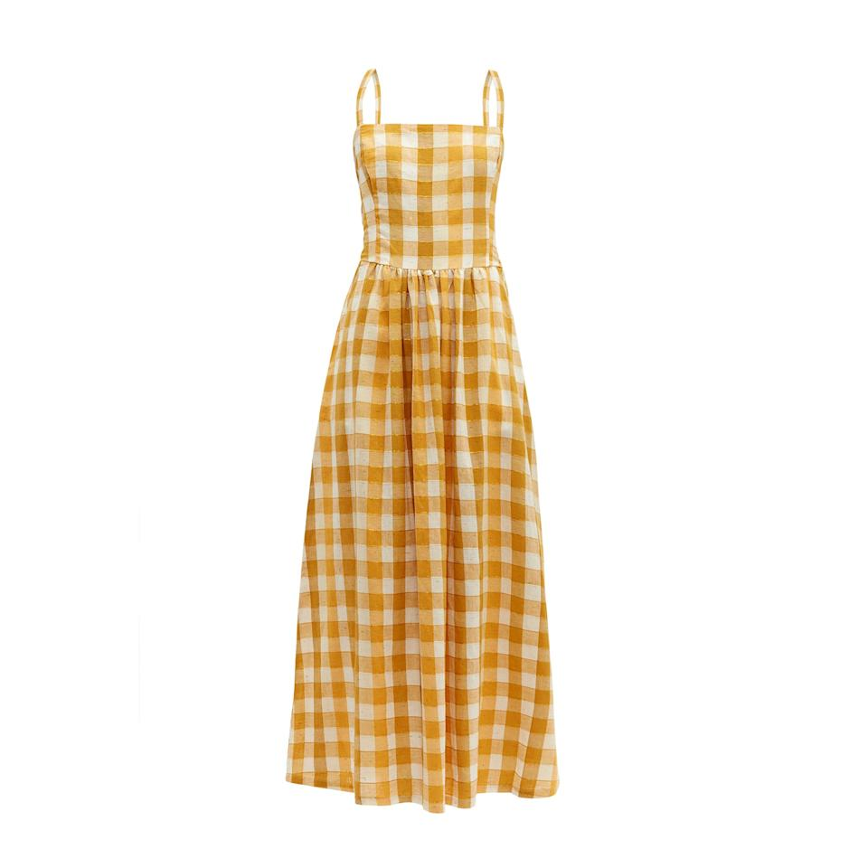 """<p>While this Ace & Jig cotton dress features a classic summer frock silhouette, the rusted yellow and white check print mimic the tonal hues we've come to expect during the fall season. Not to mention, checks and plaids were one of the biggest trends seen on the fall runways.</p> <p><strong>Buy now:</strong> Ace & Jig dress, $365, <a href=""""https://www.matchesfashion.com/us/products/Ace-&-Jig-Kennedy-checked-cotton-blend-maxi-dress-1271647"""">matchesfashion.com</a></p>"""
