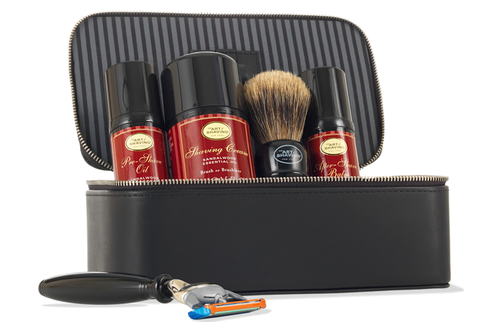 "<p>For the dad who's always going on business trips, this travel kit will help him make sure his shave routine is consistent. The sandalwood is a comforting scent to remind him of home. <b><a href=""http://www.theartofshaving.com/Sandalwood-Travel-Kit-with-Black-Compact-Fusion-Razor/PG_00670535710707,default,pd.html?cgid=kits-and-gifts#start=1"" rel=""nofollow noopener"" target=""_blank"" data-ylk=""slk:The Art of Shaving Sandalwood Travel Kit with Black Compact Fusion Razor"" class=""link rapid-noclick-resp"">The Art of Shaving Sandalwood Travel Kit with Black Compact Fusion Razor</a> ($175)</b></p>"