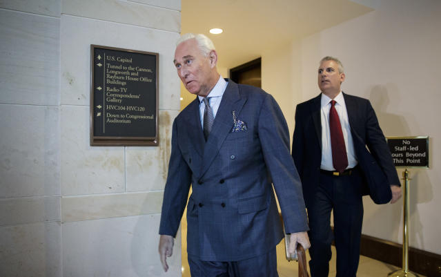 In this 2017 photo, Roger Stone arrives to testify before the House Intelligence Committee. (Photo: J. Scott Applewhite/AP)
