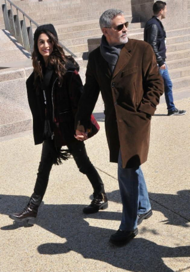 George Clooney pictured at the March for Our Lives protest in Washington D.C, looked unrecognisable. Source: Mega