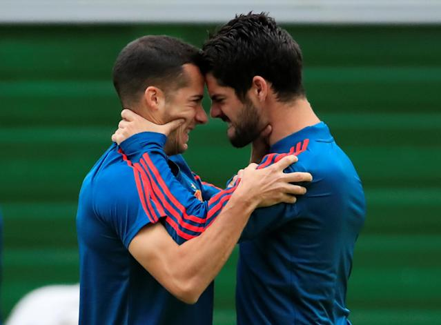 Soccer Football - World Cup - Spain Training - Spain Training Camp, Kaliningrad, Russia - June 24, 2018 Spain's Lucas Vazquez and Isco during training REUTERS/Gonzalo Fuentes