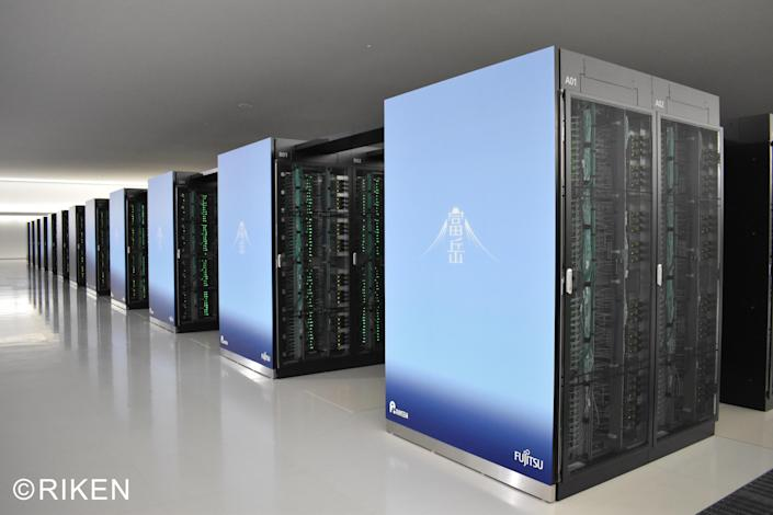 Servers forming part of the Fugaku supercomputer are seen at Japan's government-run RIKEN Center for Computational Science in Kobe, Japan, in a photo provided by the center. / Credit: RIKEN/handout