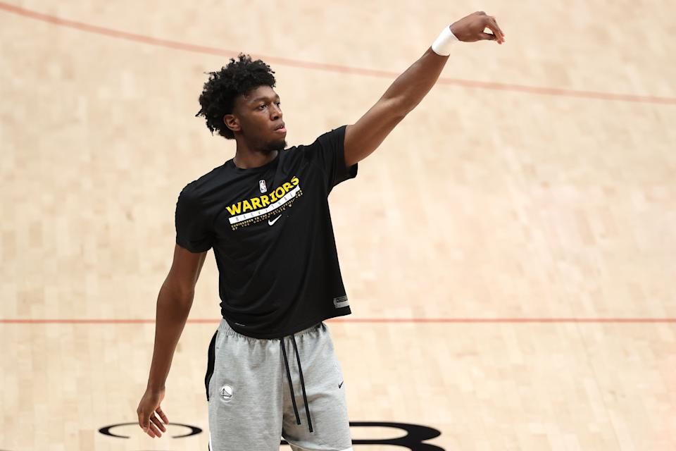 PORTLAND, OREGON - MARCH 03: James Wiseman #33 of the Golden State Warriors warms up before the game against the Portland Trail Blazers at Moda Center on March 03, 2021 in Portland, Oregon. NOTE TO USER: User expressly acknowledges and agrees that, by downloading and or using this photograph, User is consenting to the terms and conditions of the Getty Images License Agreement. (Photo by Abbie Parr/Getty Images)