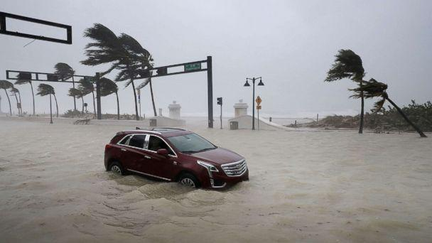 PHOTO: A car sits abandoned in storm surge waters along North Fort Lauderdale Beach Boulevard as Hurricane Irma hits the southern part of the state Sept. 10, 2017 in Fort Lauderdale, Fla. (Chip Somodevilla/Getty Images)