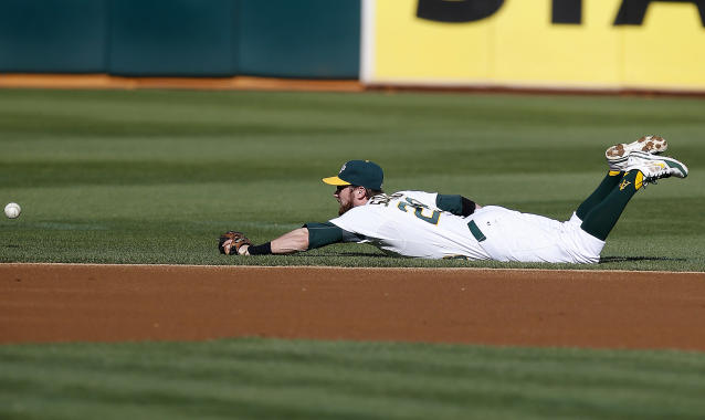 Oakland Athletics second baseman Eric Sogard (28) can't make the stop on a grounder by Los Angeles Angels' Kole Calhoun (56) (2) in the first inning of a baseball game Sunday, Aug. 24, 2014, in Oakland, Calif. (AP Photo/Tony Avelar)