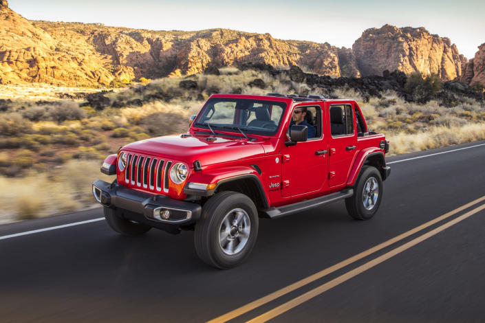 This undated photo provided by Jeep shows the 2020 Jeep Wrangler, an off-road-oriented SUV. Every Wrangler comes standard with four-wheel drive and plenty of ground clearance to aid with off-road adventure. (FCA US via AP)
