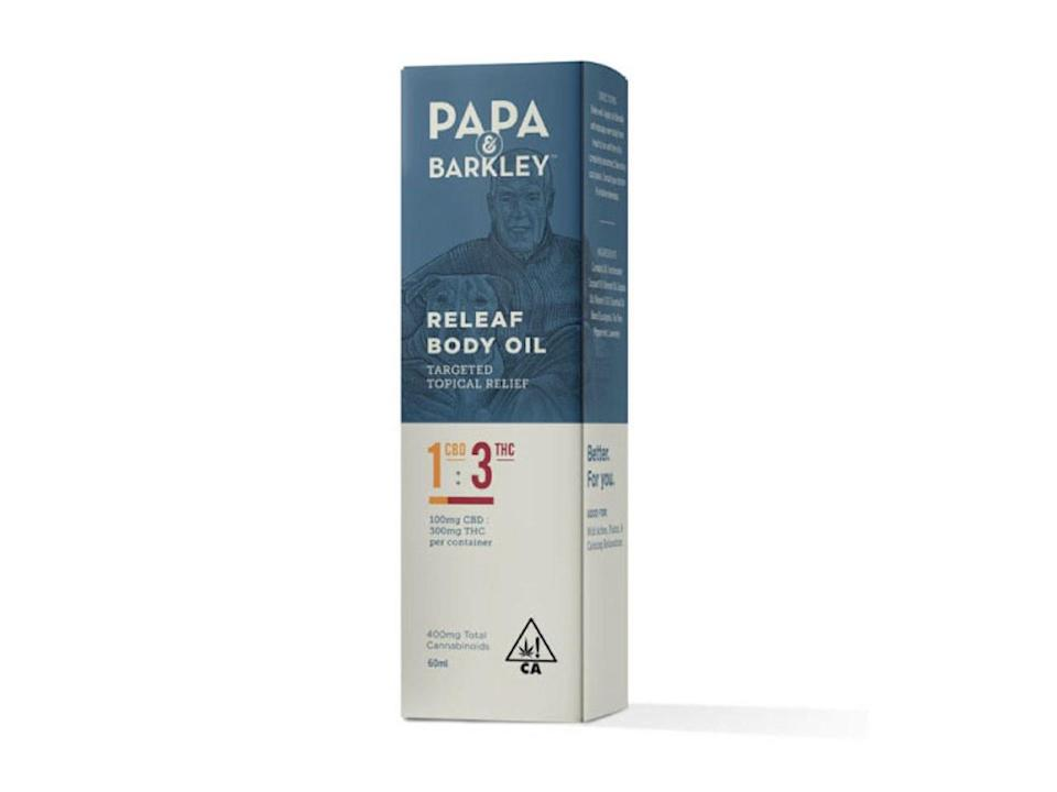 "<p>The company may be better known for its <a href=""https://papaandbarkley.com/product/releaf-balms"" rel=""nofollow noopener"" target=""_blank"" data-ylk=""slk:pain-relieving balms"" class=""link rapid-noclick-resp"">pain-relieving balms</a>, but this topical cannabis-infused coconut oil claims to soothe and relax you all over, meaning it could be the perfect ingredient in a sensual massage. According to the company, it's best to massage it into the skin for about 20 to 30 seconds to feel the effects. It should begin working within 15 minutes and last for up to three hours.</p> <p><strong>Buy it:</strong> Find it at a dispensary <a href=""https://papaandbarkley.com/store-locator"" rel=""nofollow noopener"" target=""_blank"" data-ylk=""slk:here"" class=""link rapid-noclick-resp"">here</a>.</p>"