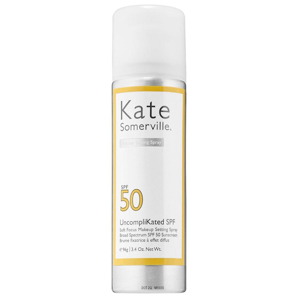 """If you love a soft-focus finish, this SPF 50 setting spray is for you: It blurs and softens the appearance of skin with a fine mist that won't disrupt your foundation.<br><br><strong>Kate Somerville</strong> UncompliKated SPF 50 Soft Focus Setting Spray, $, available at <a href=""""https://www.spacenk.com/uk/en_GB/skincare/toner/mists-sprays/uncomplikated-spf-50-soft-focus-setting-spray-UK200023240.html"""" rel=""""nofollow noopener"""" target=""""_blank"""" data-ylk=""""slk:Space NK"""" class=""""link rapid-noclick-resp"""">Space NK</a>"""