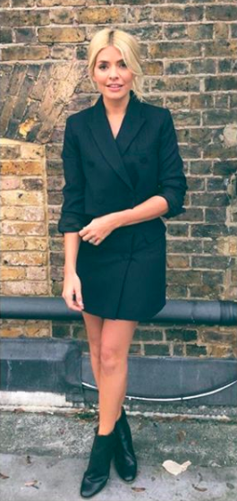 """<p>Zara fans, look away! This pinstripe co-ord is set to sell out as Holly Willoughby sent social media into meltdown as she donned the look mid-November. If you wish to imitate the <a rel=""""nofollow noopener"""" href=""""https://www.zara.com/uk/en/short-pinstriped-jacket-p08336814.html?v1=5076547&v2=756615"""" target=""""_blank"""" data-ylk=""""slk:look"""" class=""""link rapid-noclick-resp"""">look</a>, make sure to hurry… <em>[Photo: Instagram]</em> </p>"""
