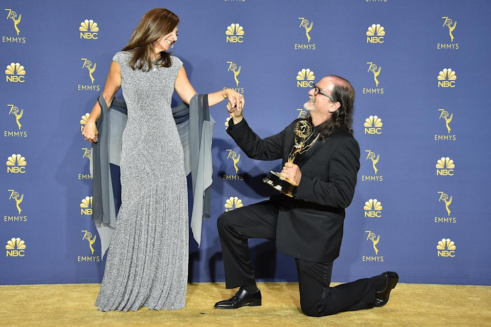 Glenn Weiss stunned the audience at last night's Emmy's by proposing to his girlfriend live on stage [Photo: Getty]