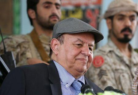 Yemen's President Abd-Rabbu Mansour Hadi attends a meeting with local officials during a visit to the coutry's northern province of Marib