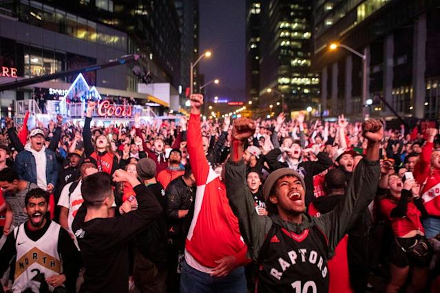 Toronto Raptors fans are absolutely elated after the team reached their first NBA Finals in franchise history. (Chris Young/The Canadian Press via AP)