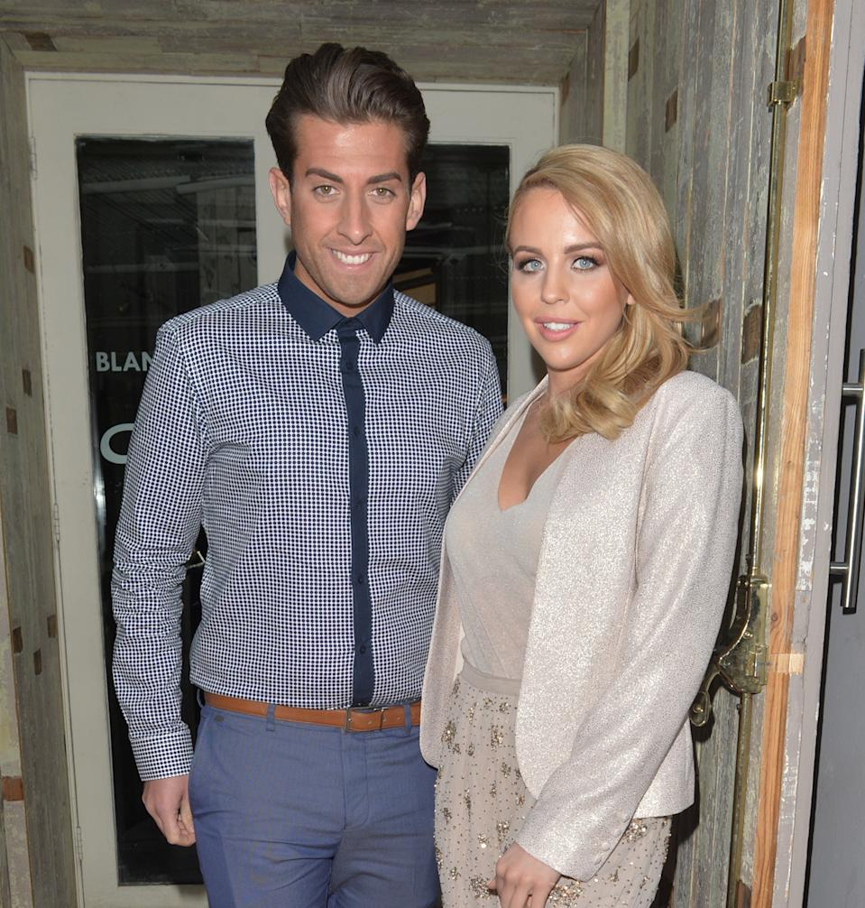 LONDON, UNITED KINGDOM - APRIL 23: Lydia Bright and James Argent arriving at 'The Only Way Is Essex' wrap party at the Blanca Bar on April 23, 2015 in London, England. PHOTOGRAPH BY Eagle Lee / Barcroft Media (Photo credit should read Eagle Lee / Barcroft Media via GC Images)