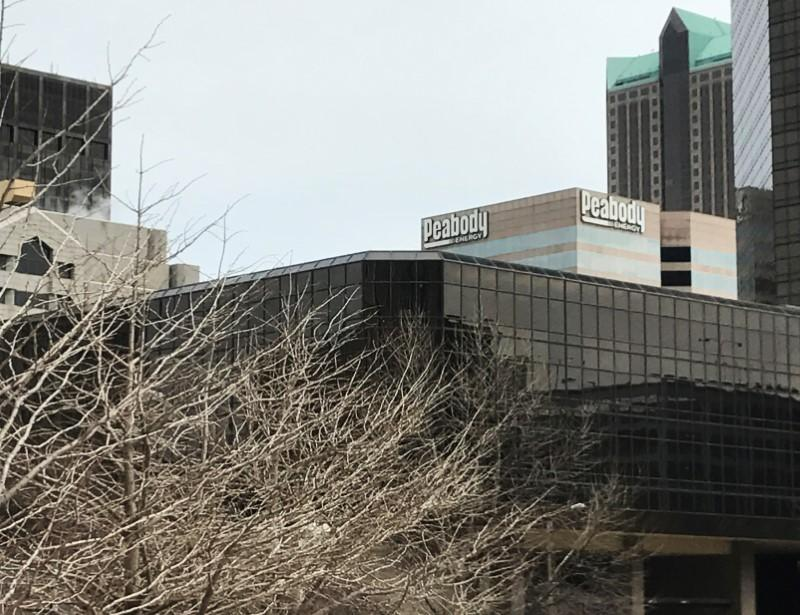 Peabody's St. Louis headquarters seen from the steps of the Thomas F. Eagleton U.S. Courthouse in St. Louis