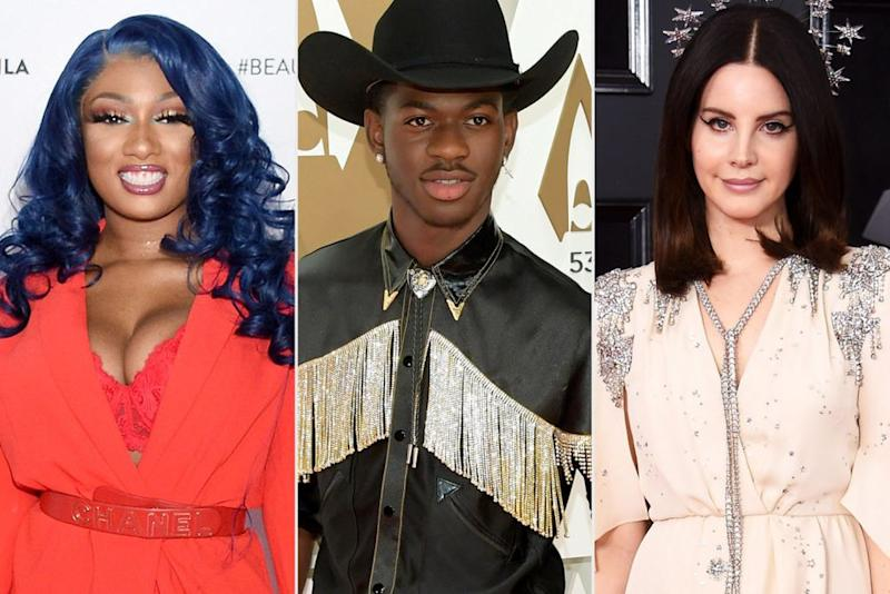 Megan Thee Stallion, Lil Nas X and Lana Del Rey | Gregg DeGuire/FilmMagic; Jason Kempin/Getty Images; Dimitrios Kambouris/Getty Images