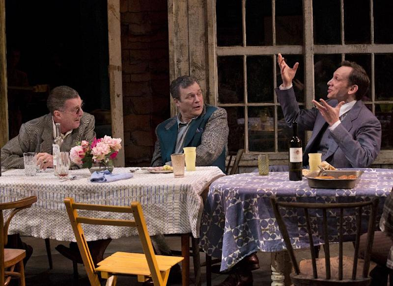 "This theater image released by Philip Rinaldi Publicity shows, from left, John Glover, John Procaccino and Stephen Kunken in a scene from Richard Nelson's new play, ""Nikolai And The Others"", currently performing at the Mitzi E. Newhouse Theater in New York.  (AP Photo/Philip Rinaldi Publicity, Paul Kolnik)"