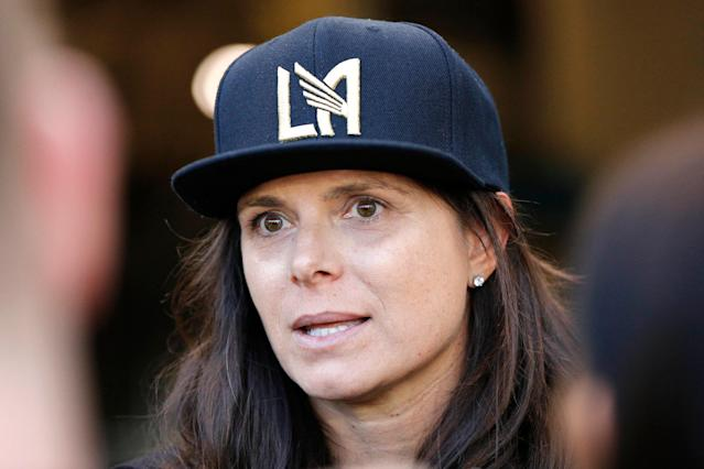 Women's soccer legend (and LAFC co-owner) Mia Hamm had plenty to say when she spoke to reporters a day before a World Cup tuneup between the United States and Belgium. (Katharine Lotze/Getty)