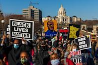 Protesters attend a 'Justice for George Floyd' march in Saint Paul, Minnesota