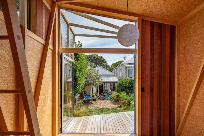 Inside, the garden studio is all timber.