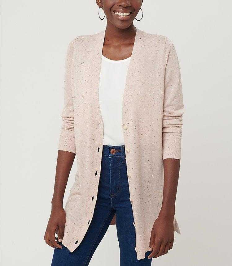 <p>Stay cozy all day in this <span>Loft Flecked Boyfriend Cardigan</span> ($55).</p>