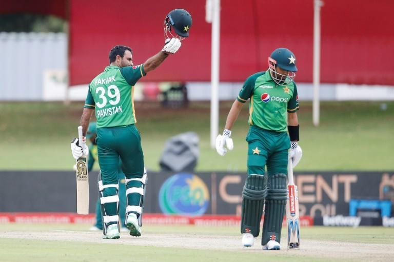 Pakistan's Fakhar Zaman celebrates his century