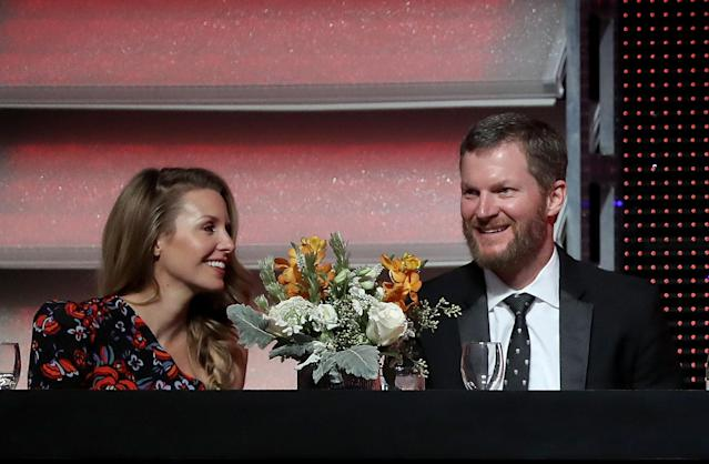 Dale Earnhardt Jr.'s plane crashed Thursday at an airport in Tennessee and he and his wife Amy and daughter Isla are OK according to his sister Kelley. (Photo by Streeter Lecka/Getty Images)