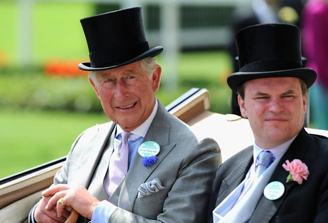 ASCOT, ENGLAND - JUNE 19: Prince Charles, Prince of Wales and Lord Dalmeny arrive during the Royal Procession on day two of Royal Ascot at Ascot Racecourse on June 19, 2013 in Ascot, England. (Photo by Stuart C. Wilson/Getty Images for Ascot Racecourse)