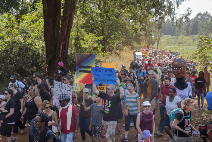 <p>More than 400 people participated in the Nairobi Women's March in Karura Forest, Kenya, on Jan. 21. (Photo: Christena Dowsett for Yahoo News) </p>
