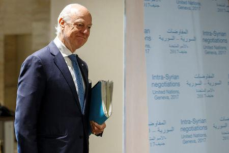 UN Special Envoy of the Secretary-General for Syria Staffan de Mistura arrives for take part to a round of negotiation with Syria's main opposition High Negotiations Committee in Geneva