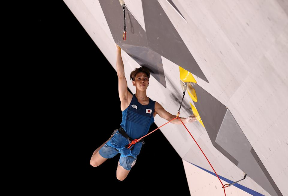 <p>TOKYO, JAPAN - AUGUST 03: Kai Harada of Japan during the Sport Climbing Men's Combined, Lead Qualification on day eleven of the Tokyo 2020 Olympic Games at Aomi Urban Sports Park on August 03, 2021 in Tokyo, Japan. (Photo by Maja Hitij/Getty Images)</p>