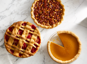 "<p>Sure, the <a href=""https://www.goodhousekeeping.com/holidays/thanksgiving-ideas/g4689/thanksgiving-turkey-recipes/"" rel=""nofollow noopener"" target=""_blank"" data-ylk=""slk:Thanksgiving turkey"" class=""link rapid-noclick-resp"">Thanksgiving turkey</a> may seem like the star of that third Thursday in November, followed closely by <a href=""https://www.goodhousekeeping.com/holidays/thanksgiving-ideas/g1202/thanksgiving-side-dishes/"" rel=""nofollow noopener"" target=""_blank"" data-ylk=""slk:Thanksgiving side dishes"" class=""link rapid-noclick-resp"">Thanksgiving side dishes</a>. But no matter how wacky your <a href=""https://www.goodhousekeeping.com/holidays/thanksgiving-ideas/g28635093/unique-thanksgiving-traditions/"" rel=""nofollow noopener"" target=""_blank"" data-ylk=""slk:Thanksgiving traditions"" class=""link rapid-noclick-resp"">Thanksgiving traditions</a> are, everyone knows there ought to be Thanksgiving desserts — and lots of 'em — to round out your day! From countless varieties of pies (apple, pumpkin, pecan, you name it) to easy options (<a href=""https://www.goodhousekeeping.com/food-recipes/dessert/g838/no-bake-desserts/"" rel=""nofollow noopener"" target=""_blank"" data-ylk=""slk:no-bake desserts"" class=""link rapid-noclick-resp"">no-bake desserts</a> and make-ahead cookies) to a classic, deliciously decadent pumpkin cheesecake, there are so many tasty Thanksgiving treats to choose from. So, how do you narrow down your Thanksgiving desserts list and pick a winner for your feast's finale?<br><br>Get your gobble on and make cute Thanksgiving desserts with the kids, or bake elegant Thanksgiving desserts like a three-layer cake or artful lattice crust pie. We're sharing our all-time favorite <a href=""https://www.goodhousekeeping.com/food-recipes/dessert/g768/apple-dessert-recipes/"" rel=""nofollow noopener"" target=""_blank"" data-ylk=""slk:apple desserts"" class=""link rapid-noclick-resp"">apple desserts</a> and <a href=""https://www.goodhousekeeping.com/food-recipes/g3639/best-pumpkin-recipes/"" rel=""nofollow noopener"" target=""_blank"" data-ylk=""slk:pumpkin recipes"" class=""link rapid-noclick-resp"">pumpkin recipes</a> that make easy Thanksgiving desserts for a crowd, plus our best chocolate Thanksgiving desserts if you just need something that isn't pumpkin spice-flavor. We have a few out-of-the-box sweets like apple fritters, spiced parsnip cakes, skillet cookies and fudgy beet brownies to switch things up this year, and we didn't forget gluten-free, vegan and low-sugar options too. With so many easy ideas for treating yourself (and the whole family!) on Turkey Day, no one will be able to resist dessert.<br></p>"
