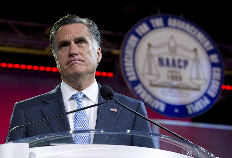 Republican presidential candidate, former Massachusetts Gov. Mitt Romney pauses during a speech to the NAACP annual convention, Wednesday, July 11, 2012, in Houston, Texas.  (AP Photo/Evan Vucci)