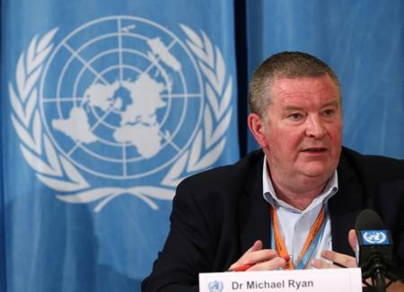 Ryan, Executive Director at the WHO for the Health Emergencies Programme,, attends a news conference on Ebola in Geneva