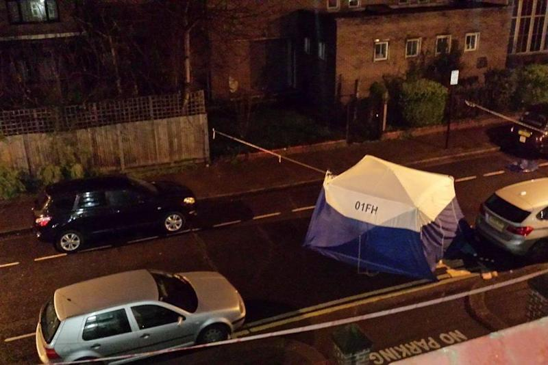 Police investigation: A man in his late teens was rushed to hospital after the stabbing in west London: @Elis_Gj/Twitter