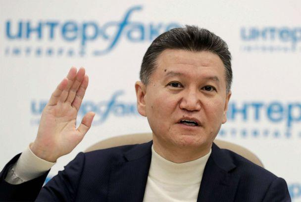 PHOTO: FIDE President Kirsan Ilyumzhinov gestures during a news briefing in Moscow, Russia, March 29, 2017. (Tatyana Makeyeva/Reuters, FILE)