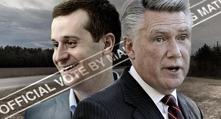 Dan McCready, Mark Harris (Photo illustration: Yahoo News; photos: Jeff Siner/Charlotte Observer via AP, Chuck Burton/AP, Getty Images, Carli Brousseau/Raleigh News/Getty Images)